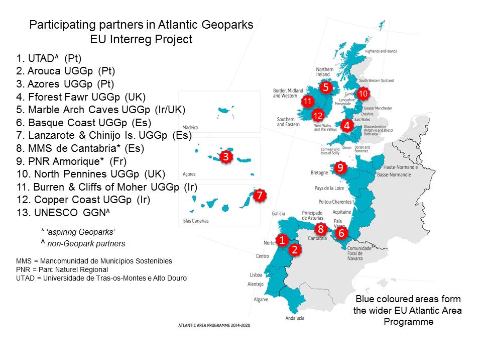 Atlantic Geoparks map